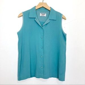Vintage collared button front tank top teal blue